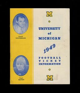 >orig. 1949 University of MICHIGAN WOLVERINES **Football Ticket Booklet**