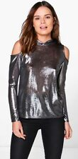 LADIES SEXY PEWTER ELEANOR METALLIC KNIT COLD SHOULDER HOODY TOP SIZE UK 10 (S)