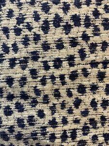 Kravet Navy White Small Animal Dot Velvet 6 Yds