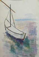 European fauvist drawing seascape boat