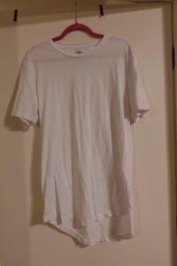 Zara Man Short Sleeve Long Length Shirt Size L White