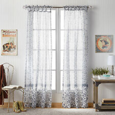 """Pioneer Woman Country Calico Tie Tab Pole Top Curtain Panel Pair Gray 50"""" x 84"""""""