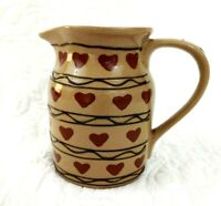 Vintage Hartstone Pottery USA Country Heart Pitcher Farmhouse Cottagecore