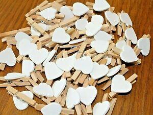 500 x Mini wooden heart pegs 30mm (white) craft, wedding, vintage, photo Bulk UK