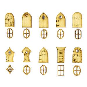 Mini Wooden Fairy doors and windows (10 3cm Doors, 10 2cm Windows) Designs A-K