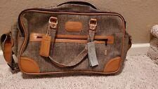 "vintage Pierre Cardin Brown Tweed Leather Luggage 20"" Suitcase Bag Carry-on NWT"