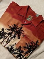 Pineapple Connection Hawaiian Shirt  Size Large Sunset palm trees surfboard