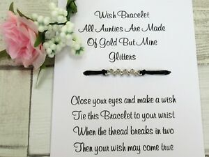 Auntie Wish Bracelet Special Aunt Card Jewellery Quote Gift Family Aunty Sparkle