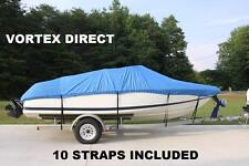 NEW VORTEX HEAVY DUTY FISHING/SKI/RUNABOUT/BOAT COVER 23 - 24 FT / BLUE