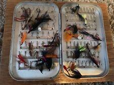 Vintage Richard Wheatley Fly Fishing Box And Vintage Flies Wheatley Alloy Box