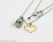 NWT Juicy Couture Fashion Pave Skull Heart Pearl Pedant Cluster Necklace