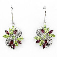 Sterling Silver 925 Genuine Peridot & Rhodolite Marquise Flower Design Earrings