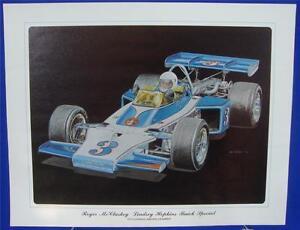 Roger McCluskey 1973 Lindsey Hopkins Buick Ron Burton Lithograph Print Indy 500