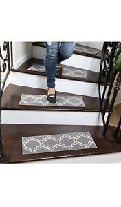 """Ottomanson Gray Trellis Non-Slip Pet-Friendly Stair Treads grey 8.5"""" x 26"""""""