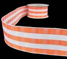 "4 Yards Bright Orange White Striped Plaid Like Wired Ribbon 1 1/2""W"