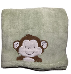 Tiddliwinks Baby Blanket Monkey Applique Green Plush Fleece 30x40 Jungle