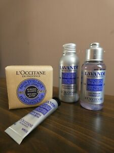 L'Occitane Set of 4 Lavender Soap Hand Cream Foaming Bath & Shower Gel Travel Sz