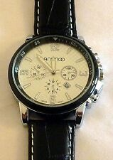 Wristwatch °°  XXL - HERRENUHR mit PU-Lederarmband  -  Chrono-Look  ani030913bs