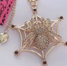 Betsey Johnson Necklace SPIDER WEB Gold Crystals Halloween