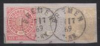 NDP - MiNr. 16 - 18 auf einem Briefstück als Dreifarbenfrankatur (K1 Bremen) !!