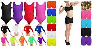 Girls Kids Neon Stretch Hot Pant Shorts Dance Gym Ballet Leotards Bodysuit 3-14y