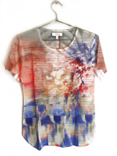 New Coral Bay Womens Floral Printed Short Sleeve T-Shirt Blouse Multicolored $32
