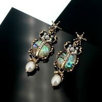 Earrings Clip On Golden Insect Beetles Pearl Grey Star Retro AA23