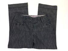 Joe Benbasset Pants Juniors Grey Gray Button Pin Striped Trouser Size 9 Short