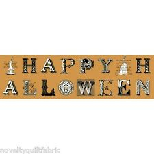 Sew Scary Halloween Greetings Lettering 1/3 yard  Cotton Novelty Quilt Fabric