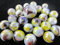 25 Glass Marbles HEDGEHOG White/Brown/Yellow Opalescent Iridescent Shooter new