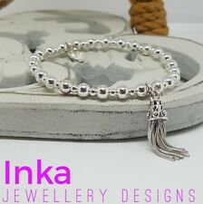 Inka 925 Sterling Silver chunky beaded Stacking Bracelet with Tassel charm