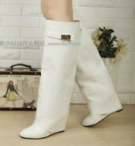 Womens Boots Wedge High Heels Casual Faux Leather Fold Over Knee Comfy Gothic