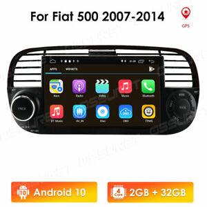 Autoradio Android 10 DSP GPS Navi Bluetooth 5.0 WIFI USB RCA DAB+ für Fiat 500