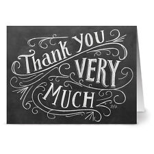 24 Chalkboard Thank You Note Cards - Thank You Very Much - Kraft Envs