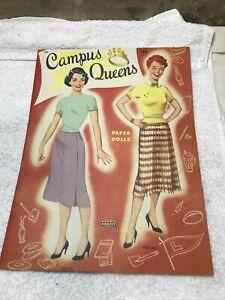 New 1950s Campus Queens #1386 Paper Doll Book - ABBOTT - RARE UNCUT ORIGINAL