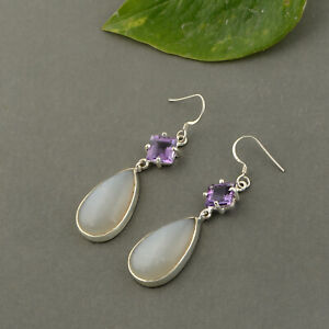 925 Sterling silver Moonstone and Amethyst square cut stone Earring Jewelry