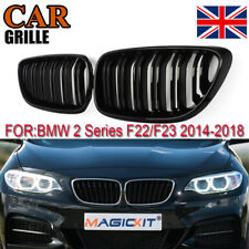 2x Front Kidney Grill Grille Gloss Black Double Slat For BMW F22 F23 M2 2 Series