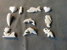 10 vintage native Mayan Bone Hand Carved miniature figurines