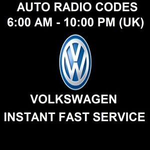 VW Radio Code   RCD 200 210 215 300 310 500 510 Gamma RNS 310 315
