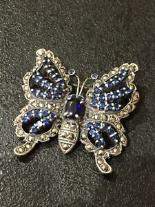Vintage Antique Sterling Silver Sapphire Butterfly Brooch Hallmarked & Tested