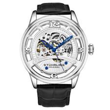 Stuhrling 3974 1 Legacy Automatic Skeleton Black Leather Strap Mens Watch