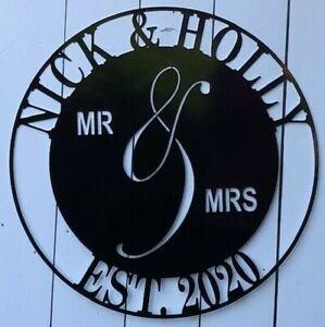 "Mr. and Mrs. Established Family Custom Metal Sign Wedding Anniversary 12"" 18"" 24"