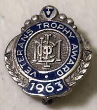 Vintage 1963 Veterans Trophy Award Lapel Hat Pin Pinback Sterling Silver ~ USA
