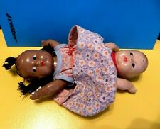 New ListingAntique Doll Miniature German Composite 2 Headed African & White Babydoll