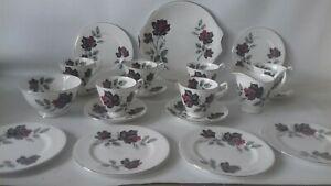 Royal Albert Black Rose Bone China 21piece tea set Masquerade vgc stunning.