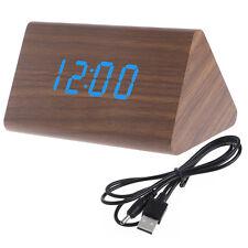 Wooden Voice Control LED Display Alarm Digital Triangular Desk Clock Thermometer