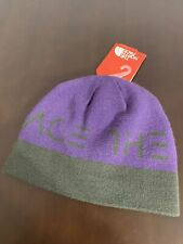 North Face Hat Youth Anders Beanie Size M Purple/Gray Knit Reversible NWT