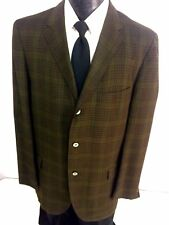 Vtg 50's Sakowitz Men Green PLAID CHECK Sport Coat 3-BTN Jacket Wool Blazer 42 L