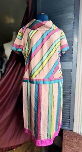 Vintage 1980's Silk Dress, Hand Made, Pastels, Stripes, High Collar, Size 12-14
