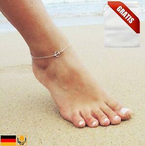 ☆ Fußkette Anker Anhänger Silber ☆ Hoffnung Glaube Schutz Liebe   Geschenkbeutel